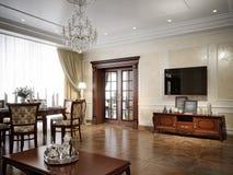 Het binnenlandse ontwerp van de luxewoonkamer in klassieke stijl Royalty-vrije Stock Afbeelding