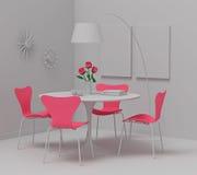 Het binnenlandse ontwerp van het huis, retro meubilair. De klei geeft met roze col. terug Royalty-vrije Stock Foto