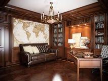 Het binnenlandse ontwerp van het huisbureau in klassieke stijl Stock Foto