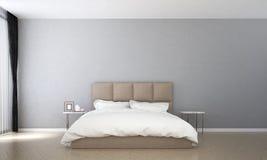 Het binnenlandse ontwerp van minimale slaapkamer en concrete muurpatroon en overzeese mening vector illustratie