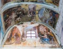 Het binnenlandse schilderen van St George ` s kerk in yuryev-Polsky stock afbeelding