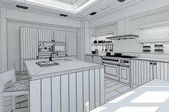 Het binnenlandse teruggeven van een moderne keuken Stock Afbeeldingen