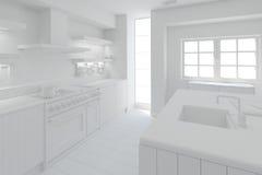 Het binnenlandse teruggeven van een moderne keuken Royalty-vrije Stock Foto