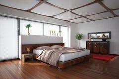 Het binnenlandse teruggeven van een moderne slaapkamer Royalty-vrije Stock Foto's