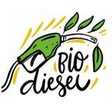 Het bio Diesel hand getrokken van letters voorzien De illustratie van Eco Ge?soleerdj op witte achtergrond stock illustratie
