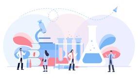 Het biologische concept van de laboratorium vectorillustratie, scientis die bij laboratorium, vector geïsoleerde malplaatjeachter vector illustratie