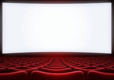 Het bioscoopscherm met rode zetels 3d illustratie Royalty-vrije Stock Foto's