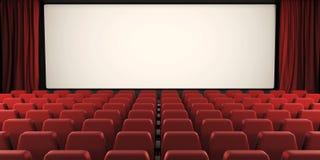 Het bioskoopscherm met open gordijn 3d Stock Afbeelding