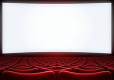 Het bioskoopscherm met rode zetels backgound 3d illustratie Stock Fotografie