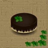 Het biscuitgebak met chocoladesuikerglazuur motregende met een twijg van munt op de textuurachtergrond vector illustratie