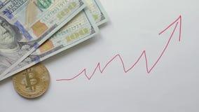 Het Bitcointarief neemt tegen de dollar toe stock videobeelden