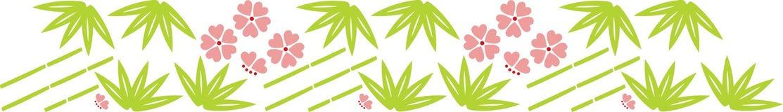 Het blad en de bloemen van het bamboe royalty-vrije illustratie