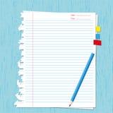 Het blad en het potlood van het document Stock Afbeelding