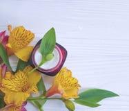 Het blad van de Alstroemeriabloem gezichts, room van de vochtinbrengende crème de organische bescherming op een houten verse acht stock foto