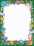 Het blad van de bannercel in kooi met reeks van verschillende vector de zakappel van schooldingen Royalty-vrije Stock Foto's