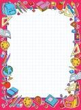 Het blad van de bannercel in kooi met reeks van verschillende vector de zakappel van schooldingen Stock Afbeeldingen