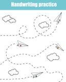 Het blad van de handschriftpraktijk Onderwijskinderenspel, voor het drukken geschikt aantekenvel voor jonge geitjes Het schrijven royalty-vrije illustratie