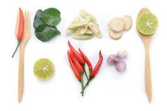 Het blad van de Kaffirkalk, citroen, hakte galangal citroengras, Spaanse peper,  Stock Foto