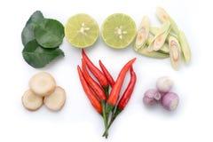 Het blad van de Kaffirkalk, citroen, hakte galangal citroengras, Spaanse peper,  Royalty-vrije Stock Fotografie