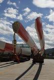 Het blad van de windturbine voor de bouw van de elektriciteitsenergieproductie stock foto's