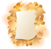Het blad van het document op de achtergrondherfstbladeren. stock illustratie