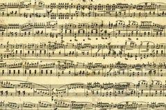 Het bladpagina van de muziek Stock Foto's