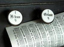 Het bladpagina van de muziek op de bovenkant van een kerkorgaan Royalty-vrije Stock Fotografie