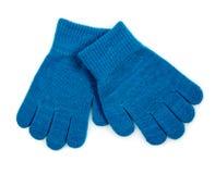 Het blauw breit geïsoleerde Handschoenen Royalty-vrije Stock Afbeeldingen