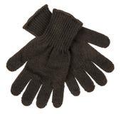 Het blauw breit geïsoleerde Handschoenen Stock Fotografie