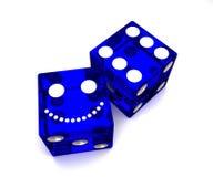 Het blauw dobbelt Royalty-vrije Stock Afbeeldingen