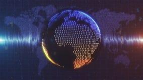 Het blauw en de sinaasappel animeerden Aarde van numerieke gegevens wordt gemaakt dat stock footage
