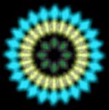 Het blauw en geel blured radiaal patroon stock illustratie