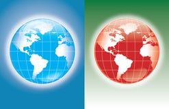 Het blauw en het rood van de wereld stock illustratie