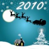 Het Blauw en Nieuwjaar 2010 van Chirstmas royalty-vrije illustratie