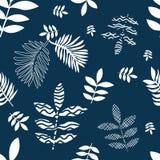 Het blauw en het wit bloeien druk stock illustratie