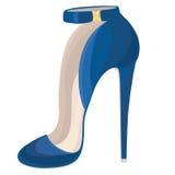 Het blauw hielde hoog schoen met gesp Royalty-vrije Stock Foto