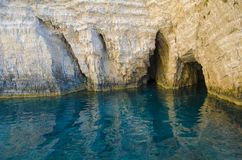 Het blauw holt dicht omhoog binnen Zakynthos uit stock afbeeldingen