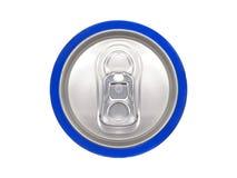 Het blauw kan van soda, mening vanaf de bovenkant Royalty-vrije Stock Fotografie