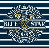Het blauw Ster varen & roeien royalty-vrije illustratie