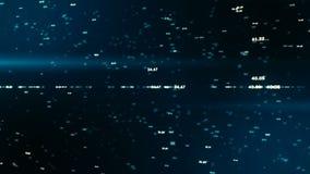 Het blauw van aantallen Het vliegen door futuristisch elektronisch digitaal fonkelend milieu stock illustratie