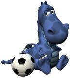 Het blauw van de de babydraak van Dino van de voetballer - bal op staart Stock Afbeeldingen