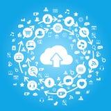 Het Blauw van de Gegevensverwerking van de Wolk van Internet Stock Afbeeldingen