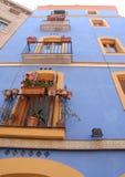 Het blauw van de huisvestingskleur in Tarragona in Spanje Stock Fotografie