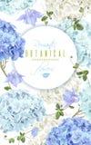 Het blauw van de hydrangea hortensiabanner Stock Foto