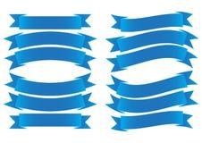 Het Blauw van de lintbanner Stock Afbeeldingen