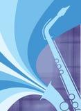 Het Blauw van de Ontploffing van de Saxofoon van de jazz Royalty-vrije Stock Foto