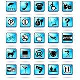 Het Blauw van de Pictogrammen van de Symbolen van de Toevlucht van het hotel Stock Fotografie