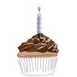 Het blauw van de verjaardag cupcake Stock Foto's