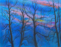 Het blauw van de zonsondergangdageraad stock illustratie