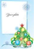 Het blauw van het frame met Kerstmisboom en sneeuwvlokken Royalty-vrije Stock Foto's